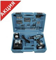 Makita DF 331 DWAX2 аккумуляторный шуруповерт + набор оснастки, 10.8В, 2Ач, Li-i